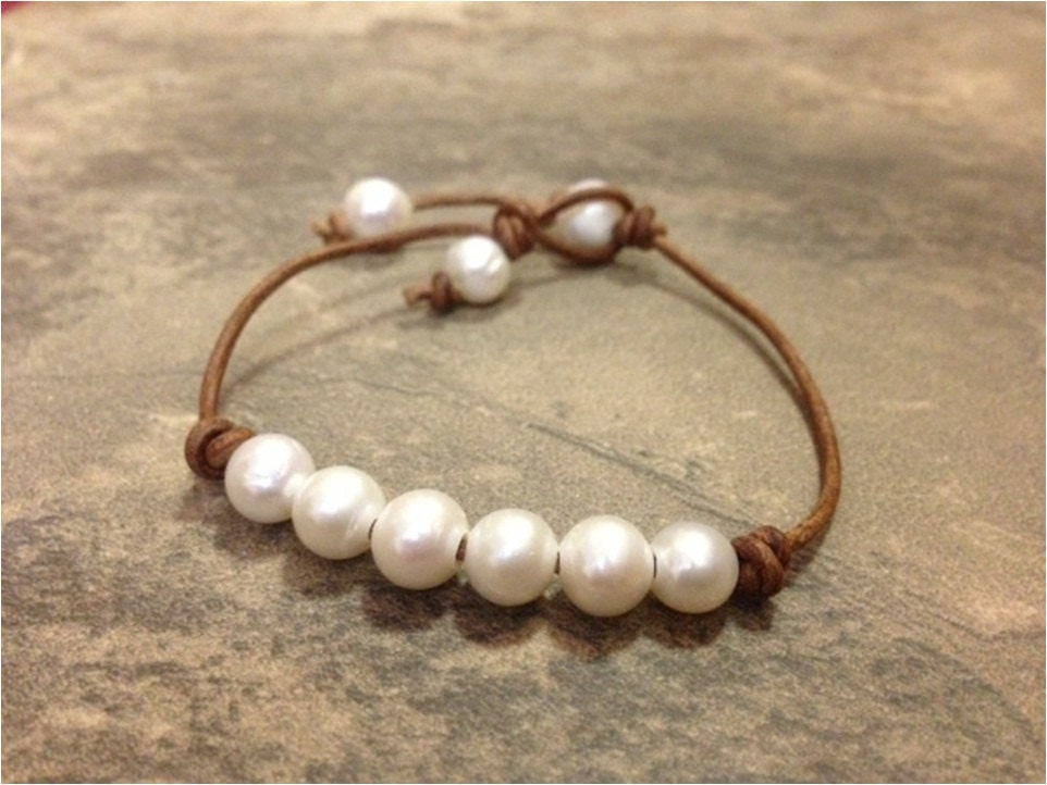leather and pearl jewelry leather bracelet becky. Black Bedroom Furniture Sets. Home Design Ideas