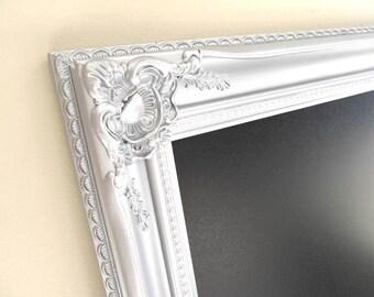 Large Silver CHALKBOARD Wedding Seating Chart Black Tie Wedding Sign Kitchen Chalkboard Baroque Framed Magnetic - MORE COLORS