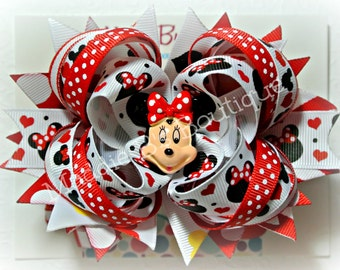 Miss Mouse Stacked hair bow Red Polka Minnie dot bow -Perfect for Disney trip-made by Maddie B's Boutique on Etsy