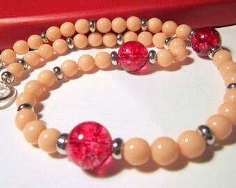 Beaded Necklace Glass and Fuchsia Quartz Necklace - Enchanting