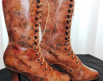 Victorian Brown Boots with Tulips printed Leather Edwardian Ankle Boots Customised boots