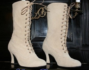 Wedding Victorian Boots Lace up shoes Suede Beige leather Order your Customised size for wider feet and strong calf