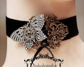 Mechanical butterfly velvet choker