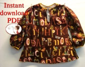 Sewing pattern and picture tutorial child and toddler tunic, pdf pattern, boho shirt boy or girl, pulover tunic, flannel top, kids pattern