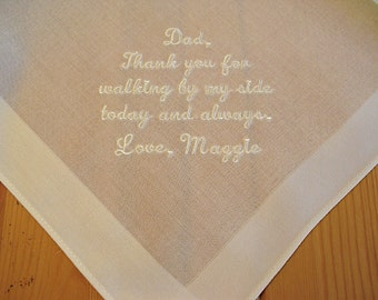 Wedding Handkerchief for Father of the Bride on Ivory Color Men's Handkerchief with Custom Message No. 4
