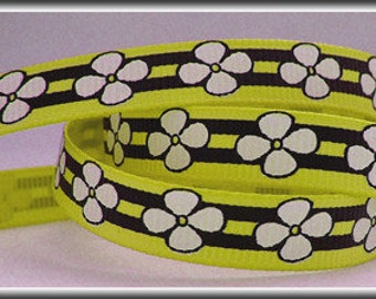 5 Yards FLOWERS AND STRIPES on Light Yellow 3/8 Grosgrain Ribbon (other colors also available)