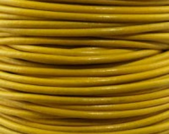 1mm Yellow Leather Round Cord  : 2 yards 1.82m