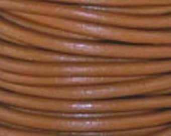 1mm Round Leather Cord Henna Brown : 2 yards 1.82m