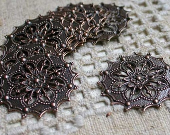 10pcs Metal Filigree Flowers Antiqued Copper-Plated Brass 34mm Jewelry Components