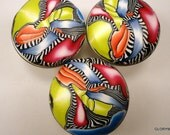 8 Polymer Clay Cabinet Knobs/Pulls   14 Available  Orange Lime Blue Fuchsia    Fun Scrappy Clay