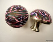 Polymer Clay Cabinet Knobs 6  Pink Purple  Handmade Decorative cabinet knobs unique bathroom knobs