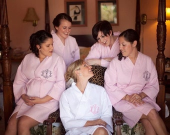5 Bride and Bridesmaids Gift  Personalized Spa Robe front embroidery is included