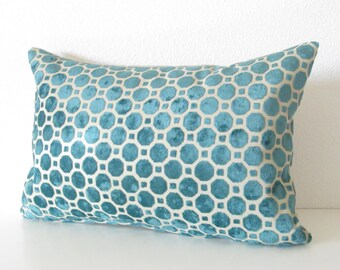 Robert Allen Velvet Geo Turquoise decorative pillow cover