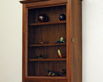 Wood Curio Display Case Wall Cabinet-4 Adjustable Shelves