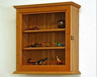 Wall Curio Display Cabinet-Cherry Hardwood