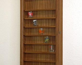 Walnut Shot Glass Display Cabinet-Walnut Hardwood