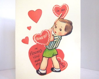 Vintage Weight Lifter Valentine Card Reproduction with Boy and Hearts