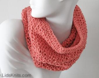 Cotton Hand Knit Cowl - Gentle Orange