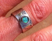 Silver and Gold Sun Ring with Opal Triplet