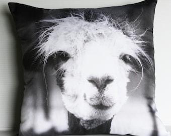 animal pillow LLAMA CUSHION COVER , pillow, decorative pillow, animal cushion, throw pillow, 16x16