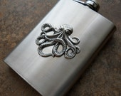 Flask, 8 Oz. Steampunk Octopus Silver Flask , Gentleman's or Lady's Liquor Flask