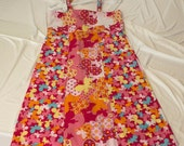 Girls Patchwork Strappy Sundress Pink Butterflies Flowers 3T-4T