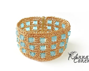 Gold and aqua cubes bracelet FREE SHIPPING