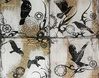 Steampunk  Black Birds with Gears Handmade Glass Coaster Set from Upcycled Dictionary page book art - WilD WorDz - Time Keepers