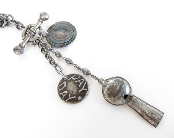 Bells & Whistles — antique chunky steel watch chain with fancy T bar and charms assemblage necklace