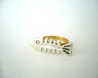 Silver fish ring, adjustable ring, animal ring, silver ring, statement ring
