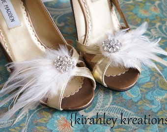 Wedding Shoe Clips Cream Ivory White Bridal Bride Feather Shoes PETITE MARY LOU Bridesmaid Prom Vintage Style Great Gatsby Custom Colors