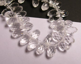 Faceted teardrop crystal briolette beads - 24 pcs - 12mm by 6mm - top sideways drill - clear
