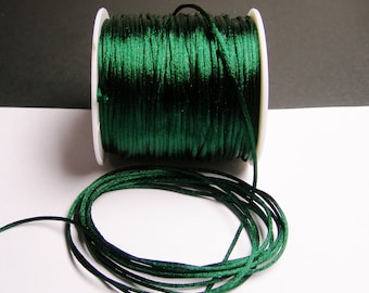Satin Rattail Cord - knotting/beading cord -1.5mm - 65 meter - 213 foot - dark forest green -SSC4