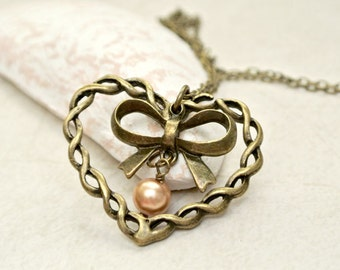 Heart Necklace, Heart with Bow Necklace, Mother's Day Necklace