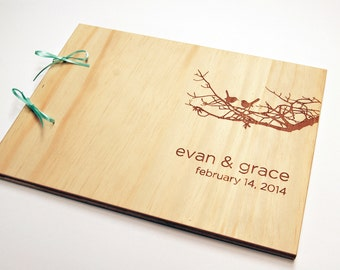 DIY Engraved Guest Book. Wedding Guestbook. Bridal Shower. Engagement Gift. Scrapbook Album