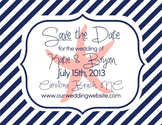 Save the Dates Beach Wedding Nautical Theme Starfish Large
