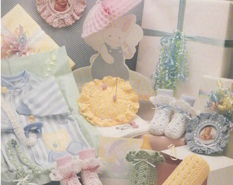 Crochet Pattern - Vintage 1980s Shower Baby 7 Pieces Set PDF Pattern - 7-04273013 - Instant Download