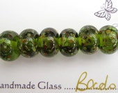 Olive Green/Frit - Handmade Lampwork Beads - Set of 6  - FHFTeam