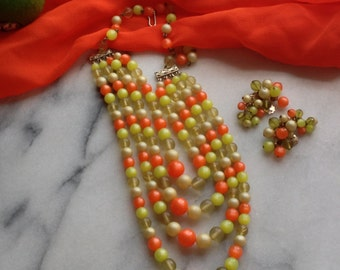 60s Citrus Color 4 Strand Necklace and Earring Set - Classic