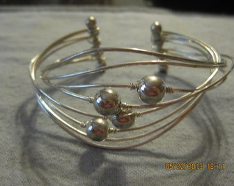 Silver Wire Wrapped Beaded Cuff Bangle Bracelet