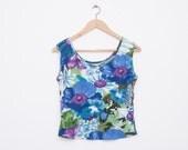 NOS vintage 90s Floral crop top shirt size M