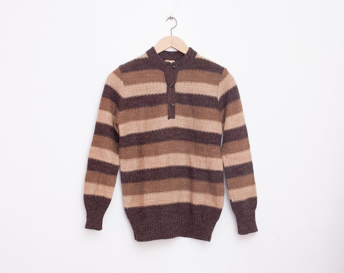 knit sweater 60s NOS vintage striped sweater brown beige