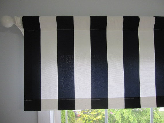 2 Curtains, Valances, Window Curtains, Set of 2 Navy Blue and White Cabana Stripe Curtain Valances 50 x 16