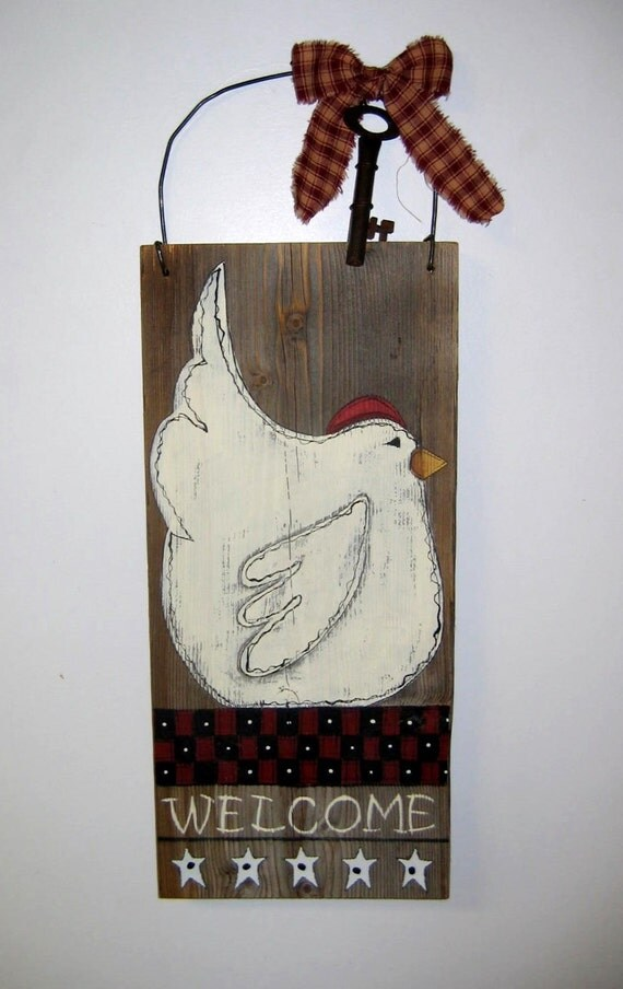 White Chicken Black And Red Checker Board Welcome Sign Barn