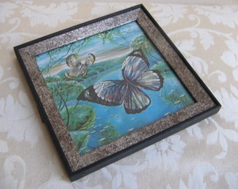 Vintage Butterflies Wall Art Print Turquoise Blue Green in Silver Black Wood Frame, Mid Century Decor