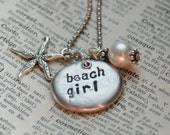 Hand Stamped Pebble Necklace With Starfish Charm And Pearl - Beach Girl By Inspired Jewelry Designs