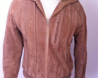 SALE Vintage Suede Hooded Jacket Size Small Women's