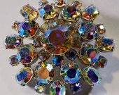 Rhinestone Button Fascinator 42mm Shank AB Glass Crystals Silver Large