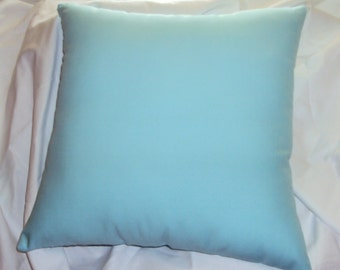 Solid Aqua Light Blue Cotton Decorative Pillow Cover - 3 Sizes Available