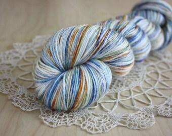 Hand Dyed Yarn / Fingering Weight / Blue Orange White Moss Starry NIght / Silk Superwash Merino Wool